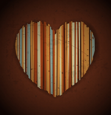 february 14th: Grungy heart formed by messy vertical stripes