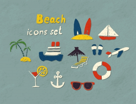 Set of hand drawn beach icons. Vector image. Illustration
