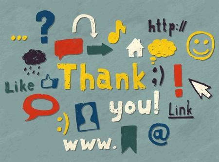"""merci: Jeu de main blogging symboles d�coration et dessin� un """"Merci"""" du texte. Vecteur d'image."""