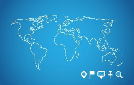 mapa de africa: Mapa del mundo con los punteros de navegación establecido