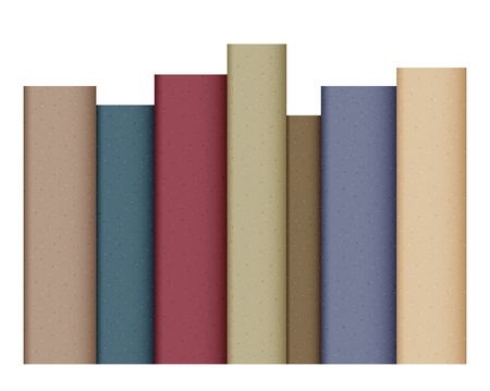 Row of books isolated on white
