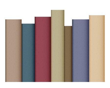 columna vertebral: Fila de los libros aislados en blanco