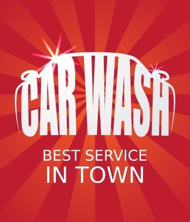 waxing: Stylized car wash text inside a car silhouette. Vector image.