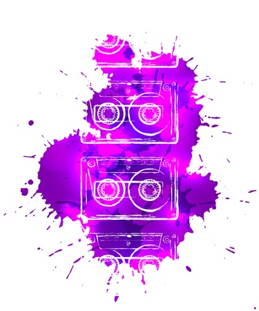 Abstract purple stains with grungy tape cassette contour on them disco poster template. Stock Vector - 17628714