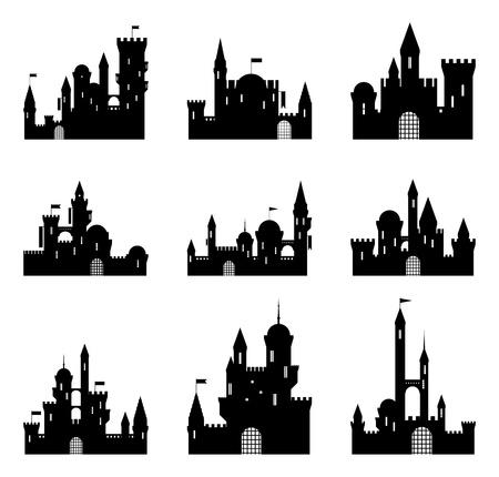 castello medievale: Set di sagome nere castello medievale. Illustrazione di vettore. Vettoriali