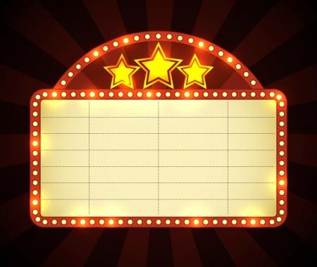Fel gloeiende retro bioscoop neon sign