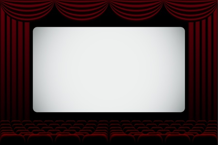 red curtain: Darkened cinema hall background with blank screen. Illustration