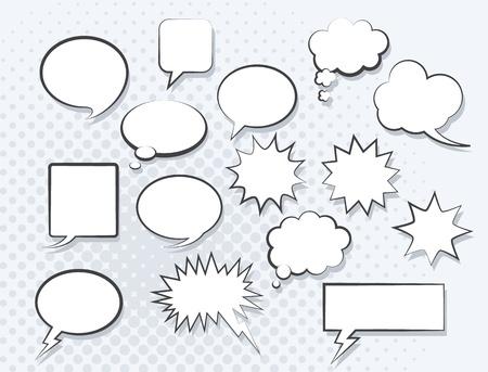 burbuja: Conjunto de burbujas del discurso de historietas. Vector de imagen.