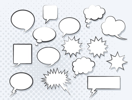 message bubble: Set of comic speech bubbles. Vector image.