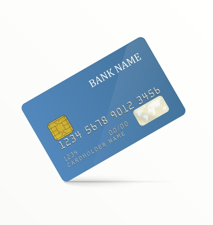 debit card: Realistic vector credit card. Blue, without any pattern