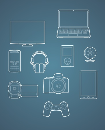 Set of digital device icon contours. Vector illustration. Vector