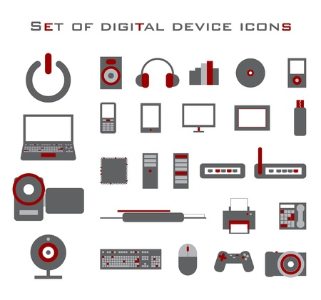 mouse pad: Set of red and gray electronic vector device icons.