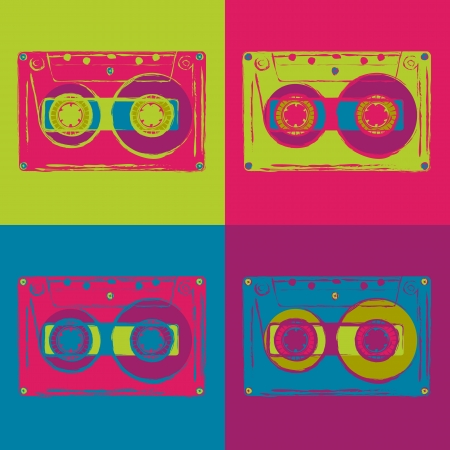 Set of colored disco cassettes with grungy contours. Vector image. Illustration