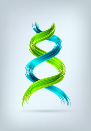 Blue and green abstract spiral looking like DNA sign