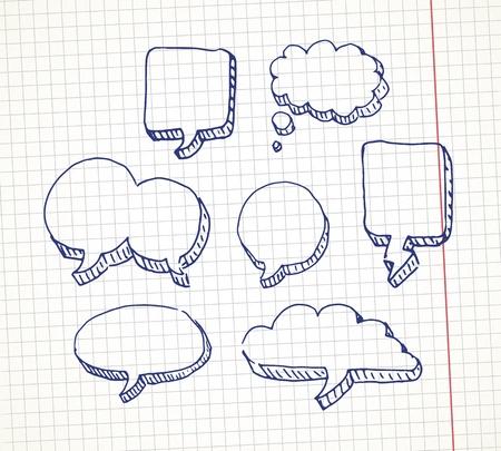 nubes caricatura: Conjunto de dibujado a mano bocadillo en una hoja de cuaderno Vectores