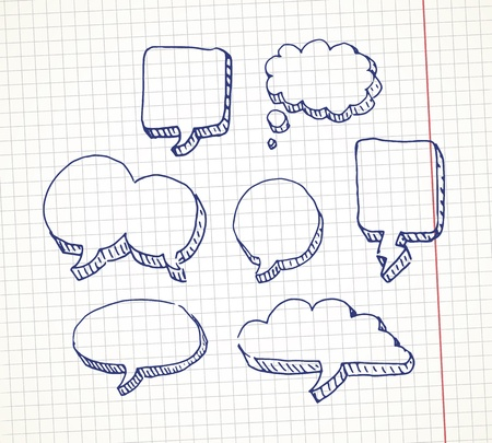 doodle art clipart: Set of hand drawn speech bubble on a notebook sheet Illustration