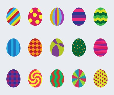 Set of simple graphic easter eggs. Vector image. Vector