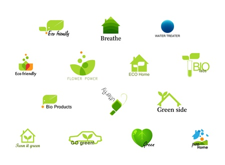 go green icons: Creative and conceptual ecology icons Illustration