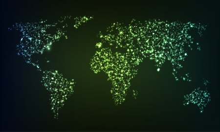 Glowing world map formed by mess of illuminating sparkles Vectores