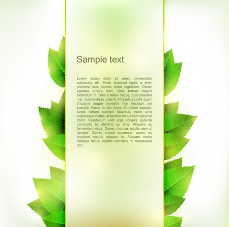 Vertical banner with fresh green leaves on both sides from the placeholder background. Stock Vector - 17628796