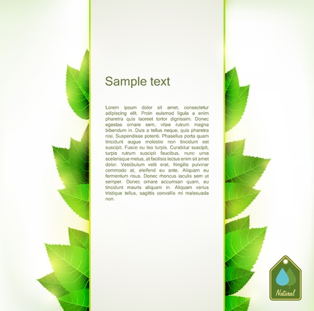 placeholder: Vertical banner with fresh green leaves on both sides from the placeholder background. Illustration