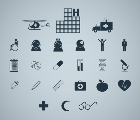 medical staff: Set of simple medical icons for text decoration. Vector image.