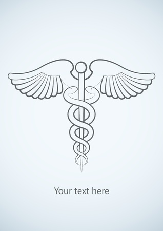 Medical background with Caduceus medical symbol. Vector image. Illustration
