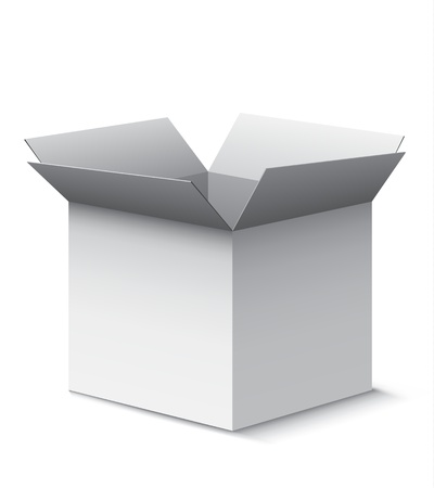 open box: Grey open box with realistic shadows isolated on white