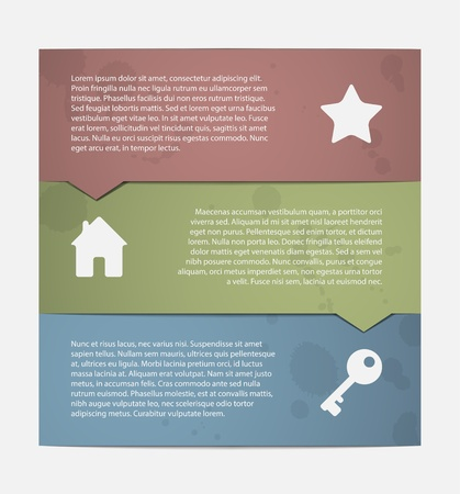 Three paper rectangle labels, each one has a pointer to another. Good for step by step concept illustration Vector