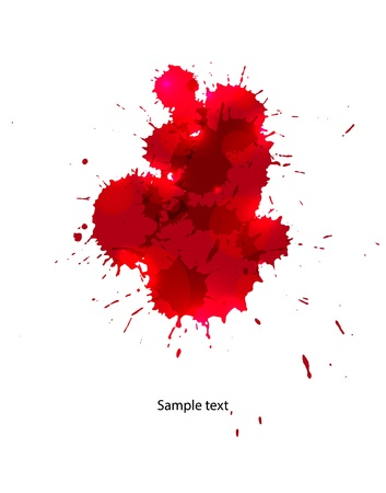 blood stain: Messy red stains of blood or wine  Illustration