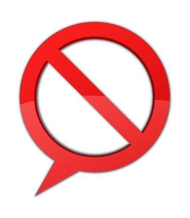 disallow: Speech bubble and a prohibited sign in one