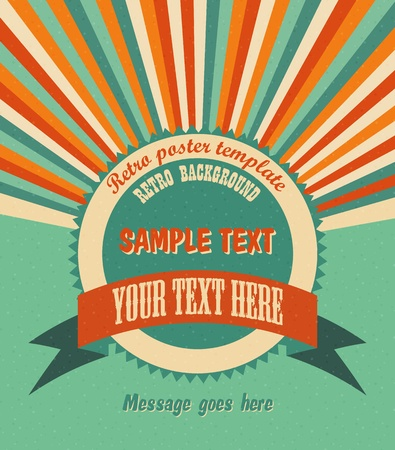 Cool retro background with radial rays and a round placeholder for your text   Vectores