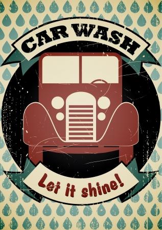 worn sign: Coche retro del cartel de lavado