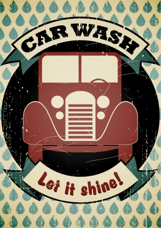 Retro car wash poster   Stock Vector - 17628720