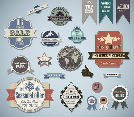 Retro labels set  Vector vintage elements for cool design