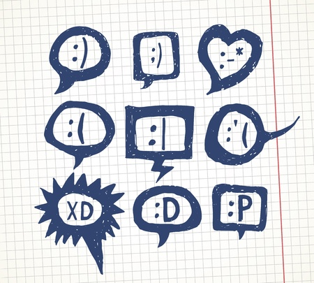 ot: Set ot hand drawn smiles in speech bubbles  Cool as avatars  Vector blog decoration elements