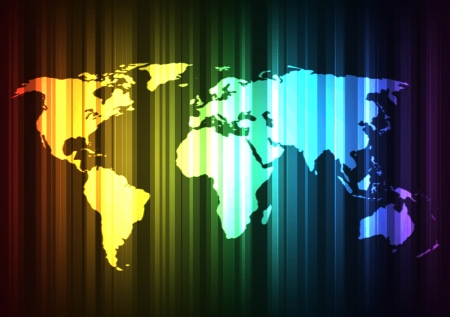 Spectrum world map with glow effects Vector
