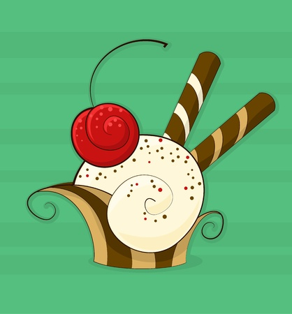 Abstract cream cake with a cherry and waffles. Vector illustration. Vector