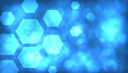 Blue abstract techno background with hexagons and glowing sparks Vector