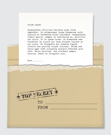 Open cardboard envelope with a top secret stamp and a letter handing out of it background. Vector