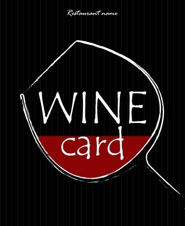 wijn en spijzen: Concept van een wijnkaart. Eenvoudige afbeelding van een glas met rode vloeistof in. Vector illustratie.