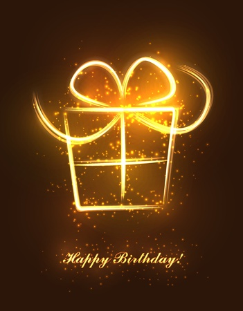 Abstract birthday present made of sparkling lines and flashes. EPS10 vector. Illustration