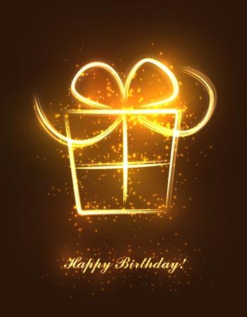 Abstracte verjaardagscadeau gemaakt van fonkelende lijnen en flitsen. EPS10 vector. Stock Illustratie