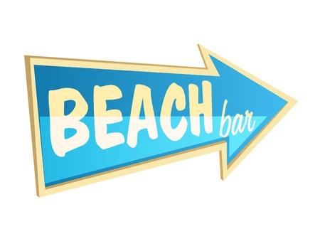 Elegante bar de playa flecha de puntero