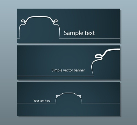 Three dark car backgrounds with simple vehicle contours Vector