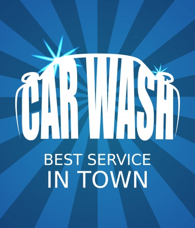 autolavaggio: Auto blu manifesto lavaggio Vettoriali