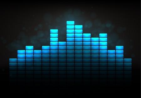 geluid: Koele blauw equaliser begrip