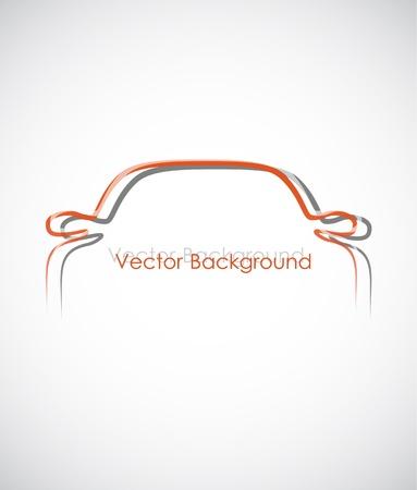 silueta coche: Fondo blanco con el una simple contour de un coche