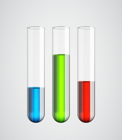 Three realistic glass tubes with colorful liquids isolated. EPS10 vector. Illustration