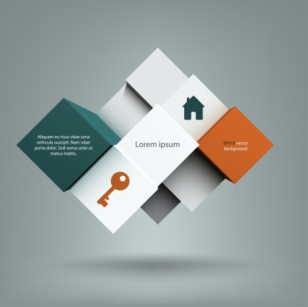 Cool abstract background with a composition of cubes with copyspace on them. EPS10 vector. Illustration